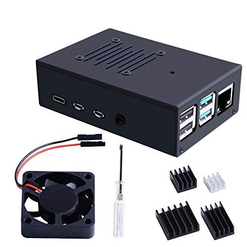 RLJJCS1163 Caja de aleación de Aluminio ZP0070 con Ventilador de escalofriante y gabinete de aleación de disipador de Calor DIY Kit de cáscara Protectora for RPI 4B