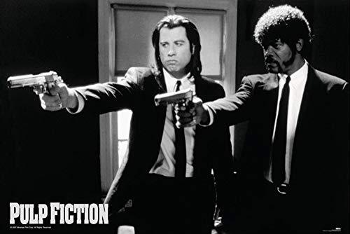 Close Up Pulp Fiction Poster Guns - Travolta & Jackson (91,5 cm x 61 cm) + Ü-Poster