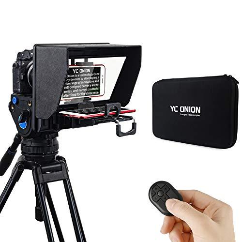 YC Onion Teleprompter Per Fotocamera Smartphone Tablet, App Compatibile Con Ios Android Kit Teleprompter Portatile Con Telecomando e Anelli Adattatori Per Lenti,Supporta Obiettivi Ultra Grandangolari