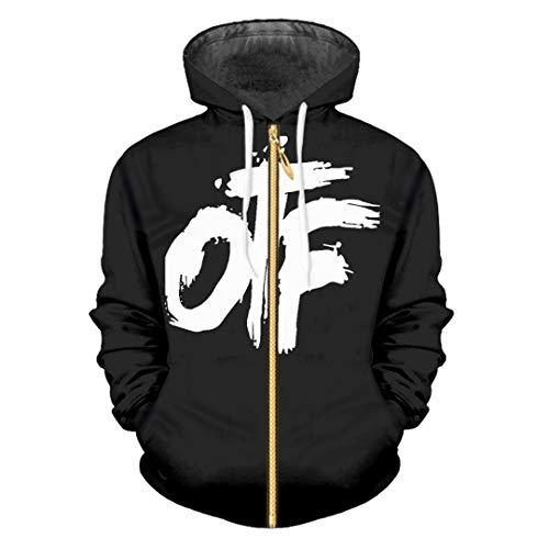 zippern Casual Hoodies Women/Men 3D Sweatshirt Man High Street Punk Hooded Tracksuits Coats OTF Black M