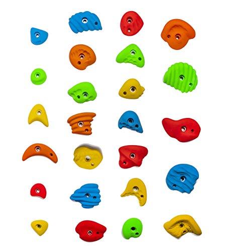 Kandi Climbing Holds - 25 Assorted Large/Medium/Small Climbing Holds for Home or Gym Climbing Walls