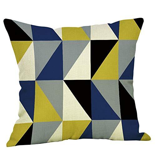 Mamum - Housses de Coussin Zippé Carrées Multicolores Coton Lin Décoration pour Canapé Lit Voiture Maison 45x45cm (A)