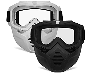 POKONBOY 2 Pack Detachable Masks Tactical Mask with Goggles Compatible with Nerf Rival  Apollo Zeus Khaos Atlas & Artemis Blasters Rival Mask   Black & White