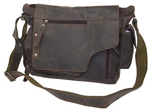 Greenburry Vintage schoudertas echt leer bruin - laptoptas - heren en vrouwen schoudertas werktas aktetas Messenger Bag overslagtas met schouderriem