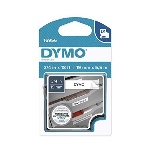 Dymo Standard D1 selbstklebendes Polyester-Klebeband für Etikettenhersteller dauerhaft 3/4'' W x 18' L schwarz/weiß