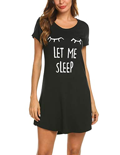 MAXMODA Donna Camicia da Notte Comodo Casual Semplice Pigiami Camici Vestaglia Camicia da Notte Manica Corta Scollo a U Elegante Nero S