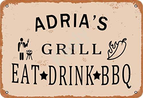Keely Adria'S Grill Eat Drink BBQ Metall Vintage Zinn Zeichen Wanddekoration 12x8 Zoll für Cafe Bars Restaurants Pubs Man Cave Dekorativ