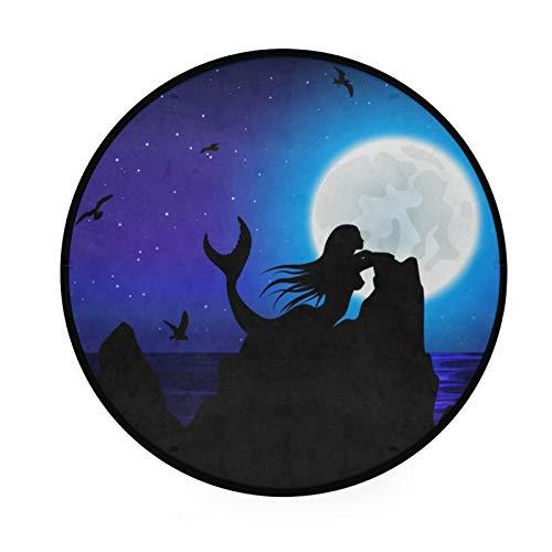TropicalLife XIXIKO Ocean Mermaid Bird Moon Alfombra Redonda Área Alfombra Circular Antideslizante Alfombra de Piso para Sala de Niños Playmat Niños Sala de Juegos Dormitorio Silla Cojín 36'