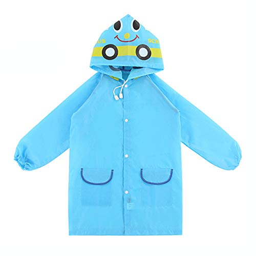 Lai-LYQ Kinder Jungen Mädchen Regenmantel Wasserdicht Cartoon Tiere Regenanzug Regenmantel – Blau Gr. 34W x 30L (34), blau