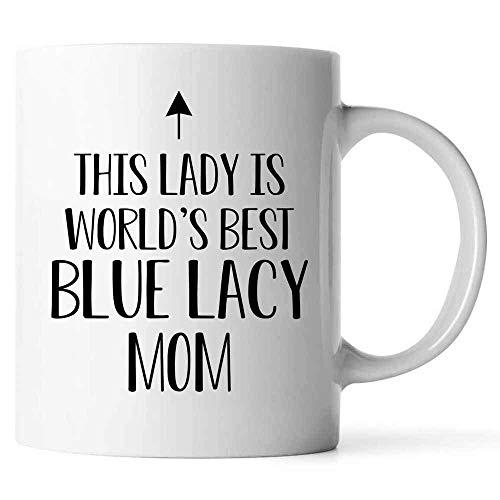 """DKISEE Kaffeetasse mit Aufschrift """"This Lady is World\'s Best Blue Lacey Mom"""", für Weihnachten, Thanksgiving, Festival, Freunde, Geschenk, keramik, weiß, 11oz"""