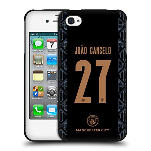 Head Case Designs Oficial Manchester City Man City FC João Cancelo 2020/21 Jugadores Fuera Kit Grupo 1 Funda de Gel Negro Compatible con Apple iPhone 4 / iPhone 4S