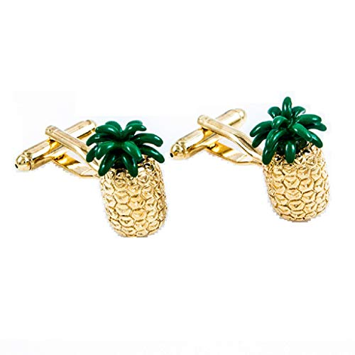 MRCUFF Pineapple Hawaii Fruit Cook Chef Pair Cufflinks in a Presentation Gift Box & Polishing Cloth