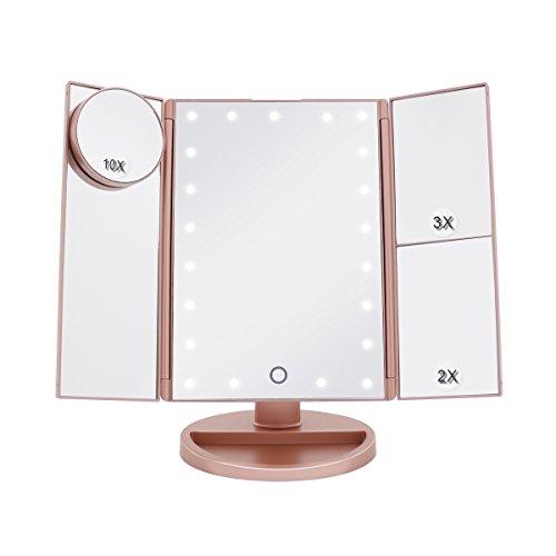 Boston Tech BE-104 Tischspiegel Schminkspiegel Beleuchtet mit 21 Leuchtmittel Make Up Spiegel 1X/2X/3X/10X Vergrößerung kosmetikspiegel für Arbeits/Tischplatte durch Akku oder USB-Aufladung(Rosa Gold)