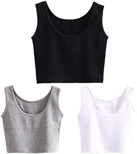 HZH Short Yoga Dance Athletic Tank Crop Tops Shirts for Women or Teens 3 Pack M L Black White product image