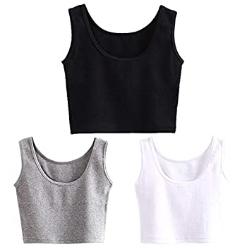 HZH Short Yoga Dance Athletic Tank Crop Tops Shirts for Women or Teens 3 Pack  M-L,Black White Grey