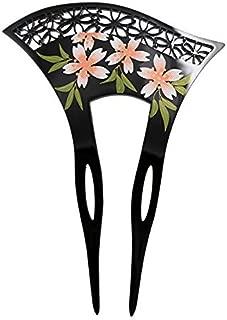 FINGER LOVE Acrylic 2-Prong Geisha Floral Mesh Hair Stick Fork Pink Flowers