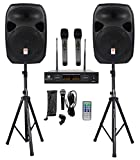 Rockville Power GIG RPG-122K All In One DJ/PA Package (2) 12' DJ/PA Speakers 1000 Watts Peak Power/250 Watts RMS with Built in Bluetooth, USB/SD Player, FM Tuner, Speaker Stands and a Wired Microphone