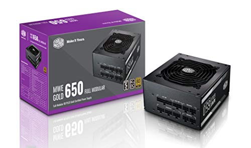 Cooler Master MWE 650 Gold Full Modular, 80+ Gold Certified 650W Power Supply, 5 Year Warranty