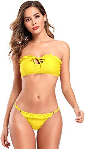 SHEKINI dames tweedelige bikini met kleine ruches Bandeau Hollow bovenstuk om te binden High Cut Sexy verstelbare broek
