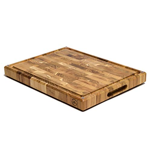 "Large Teak Wood Cutting Board, End Grain, 17 x 13 x 1.5"" with Compartments, Juice Groove, and Rubber Feet (Gift Box Included) by Sonder LA"