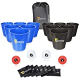 12pcs Giant Buckets and Balls Tossing Game Set with Carry Bag, Exercise N Play Yard Pong Tossing Game Set with Bean Bags for Family Friends Wedding Party Indoor Outdoor Beach (Blue&Black)
