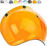Global Trade Visera para casco de moto de burbuja con 3 botones – Visera vintage universal con 3 botones de enganche – Visera para moto Bubble Retro naranja