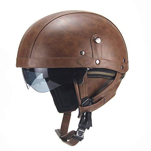 AH&Y Weinlese-Motorrad-Pilot Helme Moto Jet Helm Moped Vespa Helm Bobber Chopper Retro Cruiser Biker-Helm mit Sonnenblende Abnehmbarer Kragen XL (56~61 cm),D,L(56~61CM)