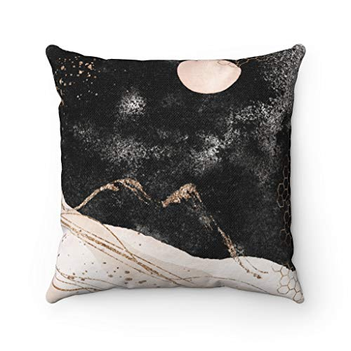 Promini Abstract Pillow Cover, Celestial Cosmic, Sun Moon, Beige Black Gold Landscape Decorative Pillowcase Throw Pillow Covers Case Cushion for Sofa Home Decor 24 x 24 Inches