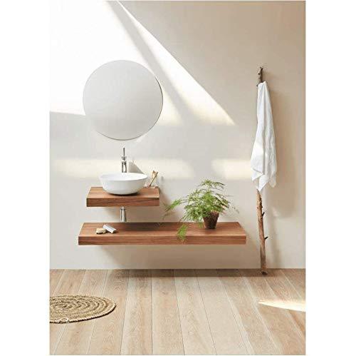 Plan Vasque Suspendu Zero pour Salle de Bain Design, Noyer 80 cm