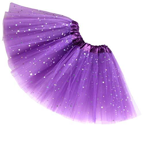 Reciy Sparkle für Mädchen Prinzessin Ballett Dance Layered Tüll Tutu Röcke, 2-8T, dunkelviolett