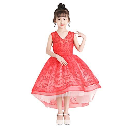 Kolylong Costume Carnaval Fille Deguisement Princesse Robe Robe de soirée Chic pour Fête Événement Rouge 130
