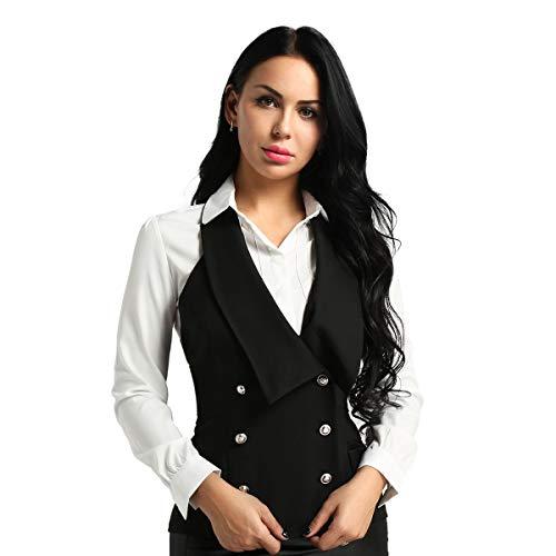 FEESHOW Damen Anzugweste Satin Weste Business Neckholder Kellnerweste Top Schwarz Cosplay Kostüm Clubwear Schwarz Small
