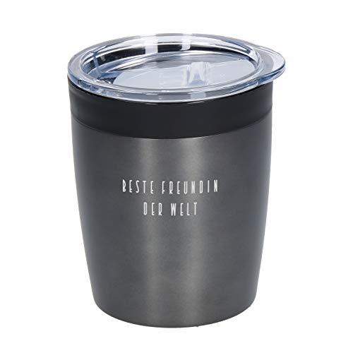 Coffee To Go Becher Thermo Personalisierter Kleiner Kaffeebecher mit Namen 0,28 Liter aus Edelstahl Praktischer Isolierbecher mit Wunschgravur Thermobecher Doppelwandiger Trinkbecher mit Gravur (Grau)