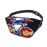 Bandolera con diseño de bandera de Colorado para bicicleta, mochila de hombro para hombres y mujeres, ligera, informal, para el pecho, para viajes, gimnasio, deporte, senderismo, ciclismo