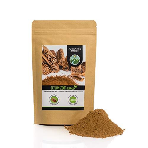 Canela de Ceilán en polvo (250g), 100% natural, suavemente secada y molida, vegana y sin aditivos