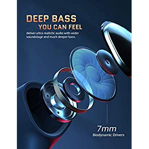 Wireless Earbuds, Cystereo Glare Bluetooth 5.0 Earbuds, 4 Mics Noise Cancelling for Clear Call, IPX7 Waterproof, Touch Control, aptX Deep Bass Earbuds with USB C Charging Case for Sports, Work