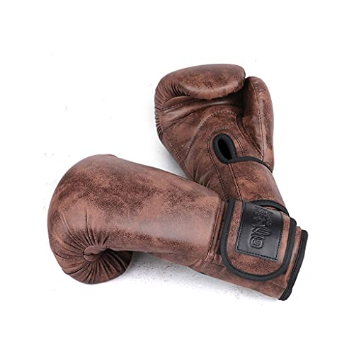 Guantes de boxeo de cuero vintage para hombres, guantes profesionales de entrenamiento de combate Sanda, 8 onzas/12 onzas (color marrón oscuro, tamaño: 10 onzas)