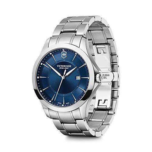 Victorinox Alliance Ø 40, blaues Zifferblatt, silbernes Edelstahlgehäuse, Armband silber Edelstahl + Schweizer Taschenmesser für Herren 241910.1