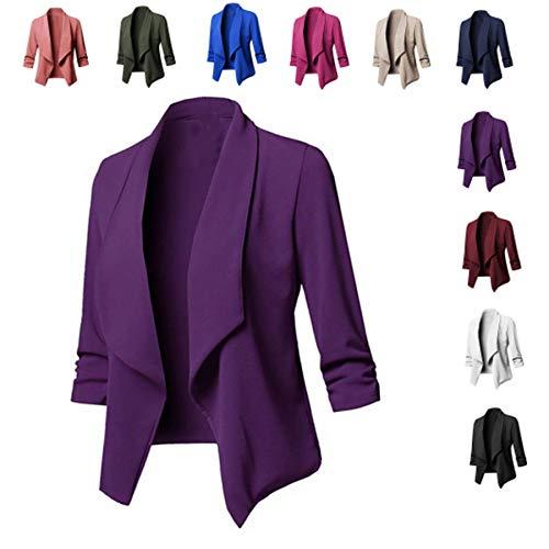Women's Blazer Cardigan/Thin 3/4 Longer, Elegant, Elecenty Lightweight Jacket/Blazer/Slim Fit Suit/Trench Coat Jacket T-Shirt for Elegant Suit Pants Pumps (Lila, S)