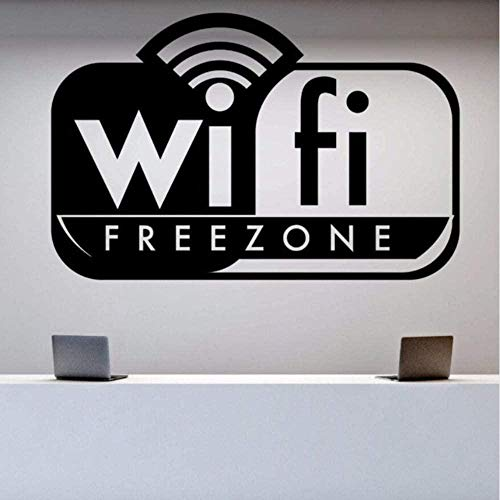 Wall Stickers Decal Wall Wifi Free Zone Wall Decal Signboard Game Club Office Decor Logo Wall Art Mural 57X37Cm