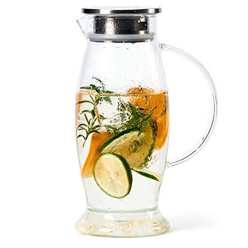 EZOWare 1,5 liter glazen Pitcher met roestvrijstalen deksel en tuit, koelkast waterkruik karaf voor warm/koud water, ijsthee, gemengde dranken, sap, dranken