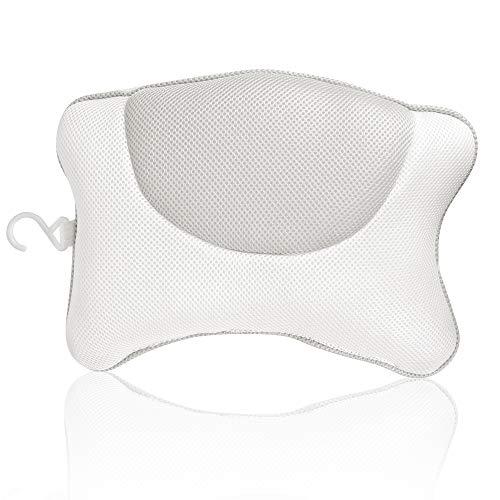 Wishstar Badewannenkissen,Badekissen Komfortables,Badekissenzubehör, Kopfstütze mit 4 Saugnäpfen antibakteriell,Kopfkissen für Badewannen und Home Spa(Grau)