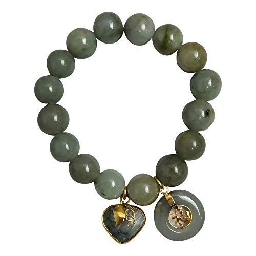 Natural Green Jade Round 14 mm Healing Energy Real Bracelets Bangle for Women Men Charms with Pendant Love Heart and Coin Lucky Money Powerful Thai Pendant Prosperity Success in Life Trade Flour