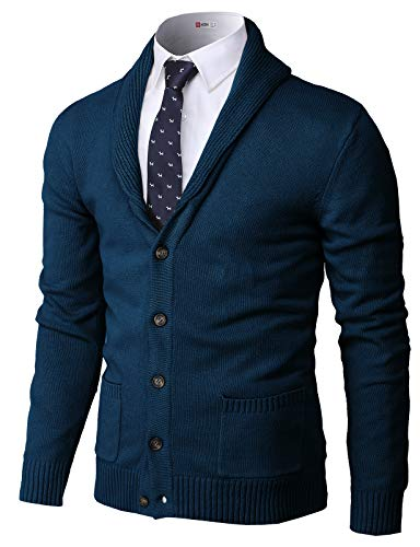 H2H Mens Basic Cardigan with Shawl Collar WINE US M/Asia L (JNSK03)