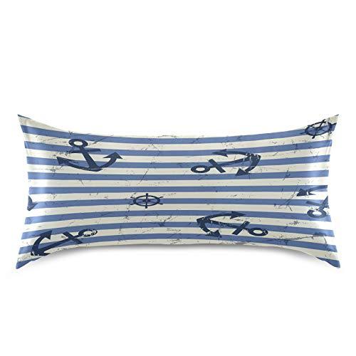 HaJie - Funda de almohada de satén con diseño de rayas retro, color azul marino, 100% poliéster, funda de almohada para cabello y piel, tamaño estándar 50,8 x 101,6 cm, 1 unidad