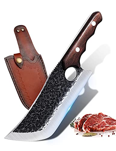 Boning Knife Hand Forged Butcher Meat Cleaver Knife Camping Chef's Knives with Sheath Gift Box High Carbon Steel Full Tang Grilling Knife for Kitchen Outdoor BBQ