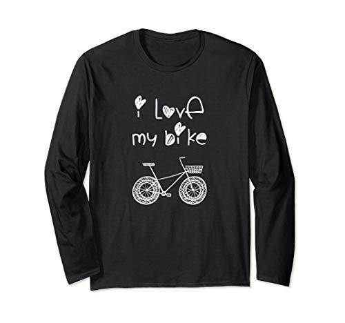 Bicicleta vintage con cita 'I Love My Bike' y corazones Manga Larga