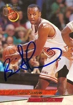 Brian Shaw Autographed Basketball Card (Miami Heat) 1993 Fleer Ultra #103