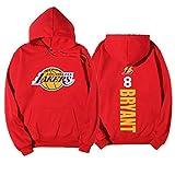 OBTAIN Baloncesto con Capucha para Bryant # 8, Lakers otoño y Baloncesto del suéter del Invierno, además de Terciopelo de los Hombres de la impresión con Capucha Red-M