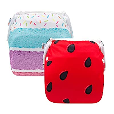 ALVABABY Swim Diapers 2 PCS Reuseable Washable Infants Adjustable Stylish Fits for Babies 0-2 Years Old (Summer Day, DYK50-55)